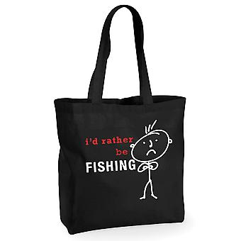Mens jag skulle snarare fiske svart bomull shoppingväska