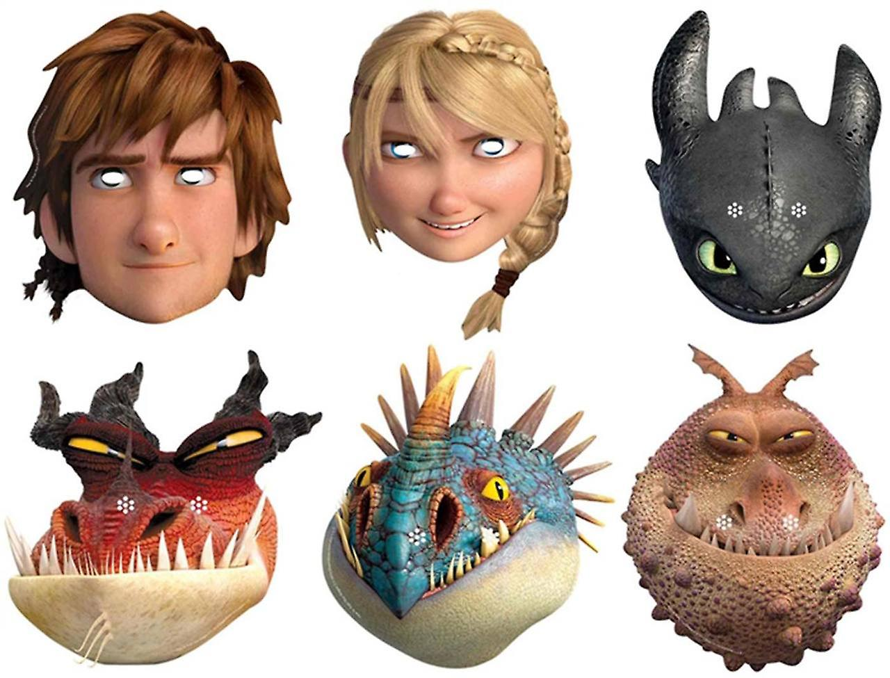 How To Train Your Dragon 2 - Variety Party Card Face Mask Pack of 6 (Hiccup, Toothless, Astrid, Nadder, Gronckle and Monstrous Nightmare)