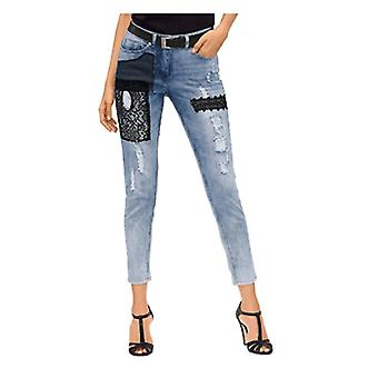 AMY VERMONT fashion women of jeans with destroyed effects blue