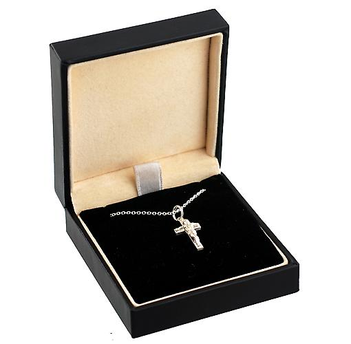 Silver 17x10mm solid block Crucifix Cross with a rolo Chain 16 inches Only Suitable for Children