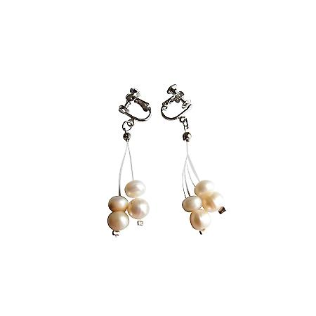 Silver Clip On Wedding Dangling Earrings in Luster Freshwater Pearls