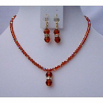 Fall Color Handmade Jewelry Swarovski AB Indian Red Crystals Pendant