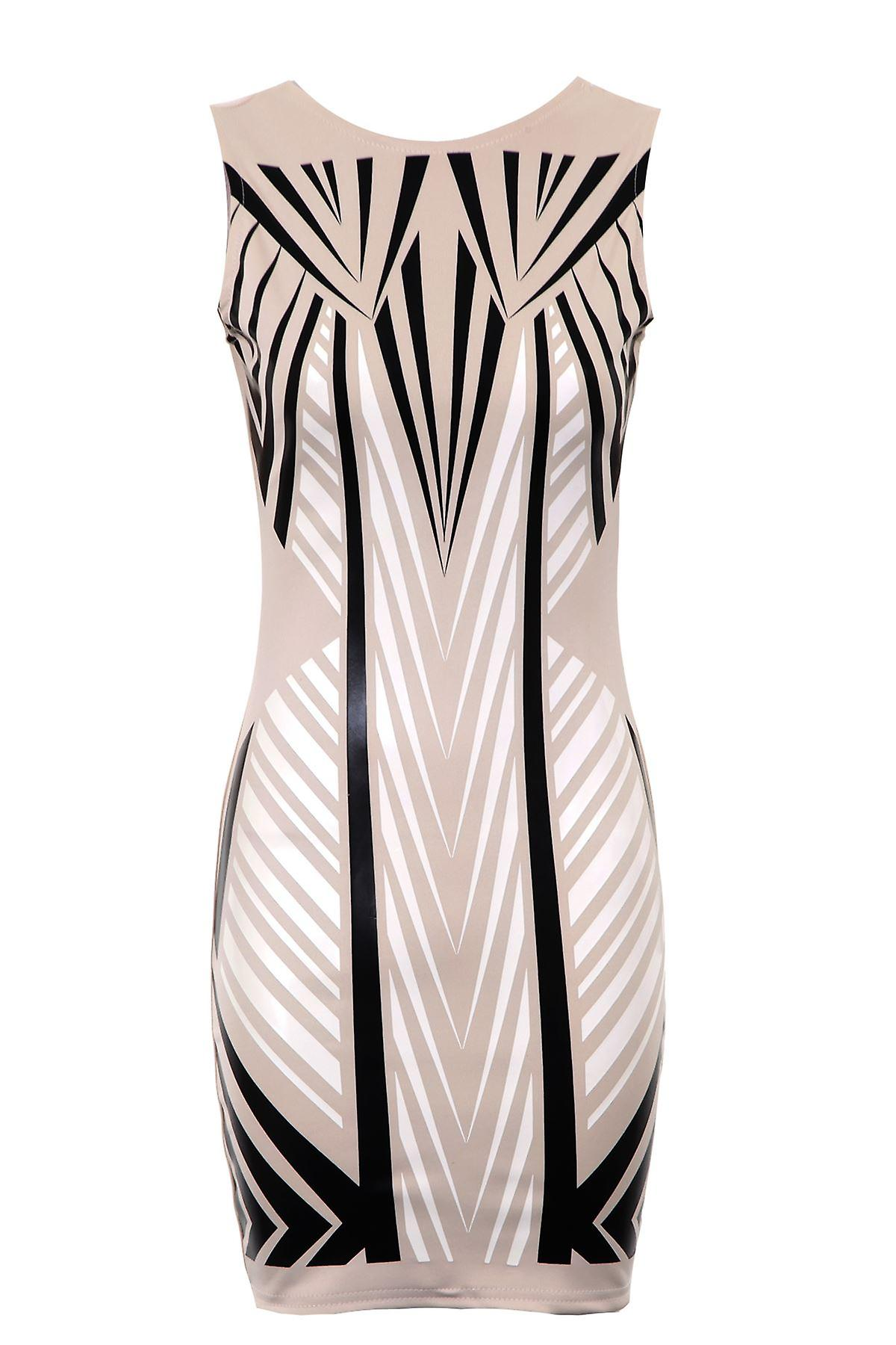 New Ladies Bodycon Sleeveless Wetlook Triangle Pattern Women's Slim Fitting Dress