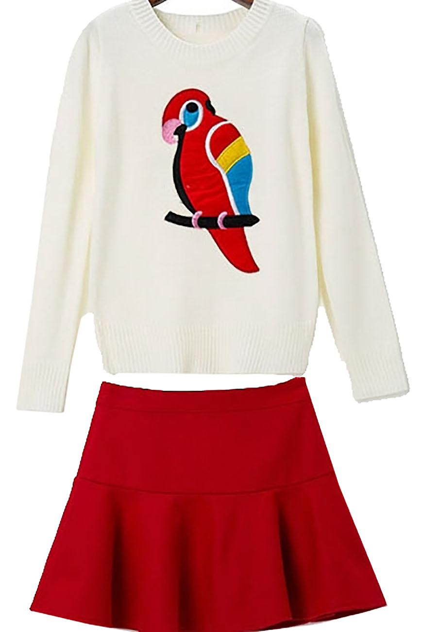 Waooh - pull together skater skirt Bealy parrot motif