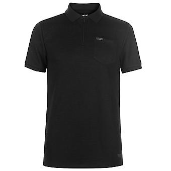 Firetrap Mens Blackseal Rib Zip Polo T Shirt T-Shirt Short Sleeve Top