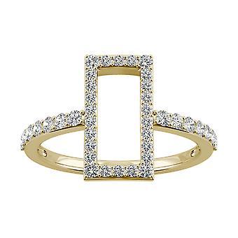 14K żółty złoto Moissanite przez Charles idealna Colvard 1.5mm okrągły pierścień mody, 0.45cttw rosy