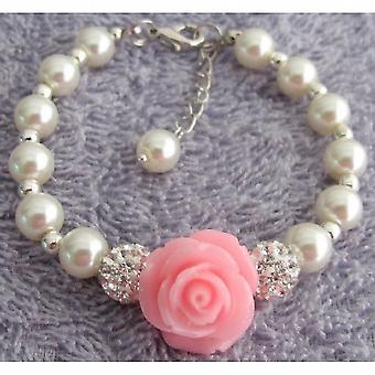 Pink Rose Flower Bracelet Ivory Pearl Paveball Bracelet