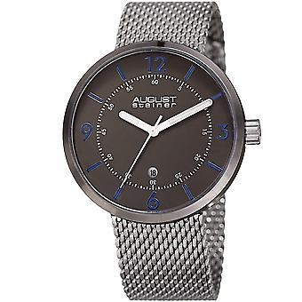 August Steiner Men's AS8204SSGN Three Hand Movement Date Steel Mesh Bracelet Watch