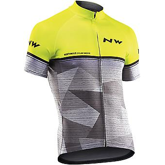 Northwave Yellow Fluorescent-Grey Origin Short Sleeved Cycling Jersey