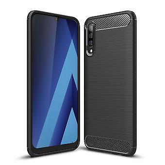 Samsung Galaxy A18 TPU étui en fibre de carbone optique brossé étui de protection gris