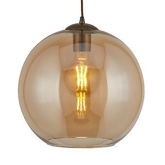 Lámpara colgante pequeña bolas bronce antiguo con vidrio ámbar - reflector 1621 estoy