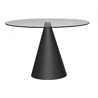 Gillmore Space Large Round Clear Glass Dining Table With Conical Black Base