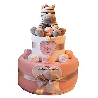 Pink Baby Girl Zebra Nappy Cake (two Tier)