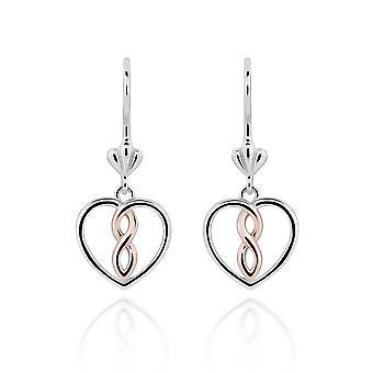 Orphelia 925 Boucles d'oreilles argentées Blanc et Rose Heart
