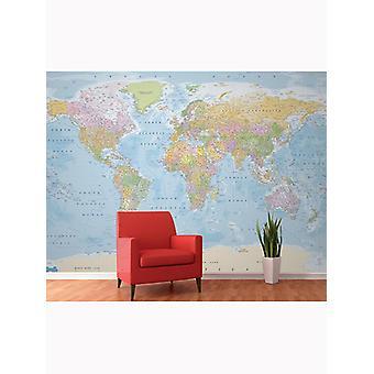 Weltkarte Wandbild 3,15m x 2,32m