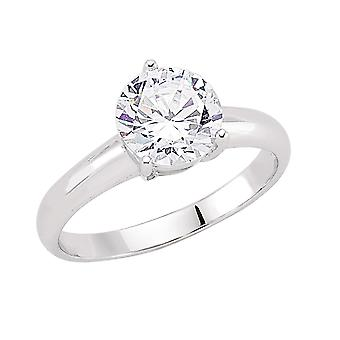 Jewelco London Rhodium Plated Sterling Silver Round Brilliant Cubic Zirconia 3 Claw Solitaire Engagement Ring