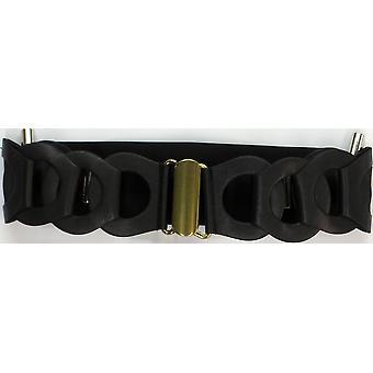 Amiee Lynn 3-quot; Stretch Ladder Braid Belt Noir A90109
