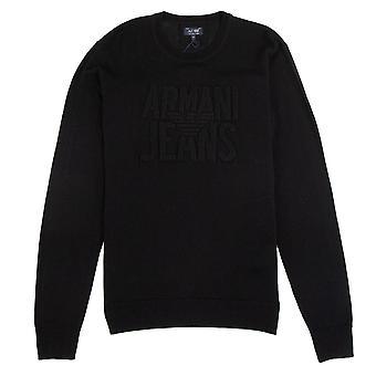 Armani Jeans Embossed Logo Lightweight Sweatshirt Nero
