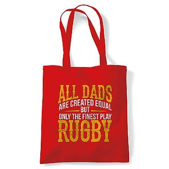 Fineste Dads spil rugby Sports tote | Fodbold rugby hockey basketball baseball boksning | Genanvendelige shopping bomuld lærred længe håndteret naturlig shopper øko-venlige mode