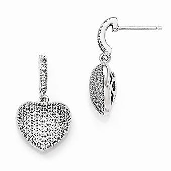 925 Sterling Silver Pave Rhodium-plated and Cubic Zirconia Polished Heart Dangle Post Earrings