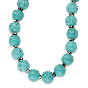 Fancy Lobster Closure Copper-tone Aqua Beads 16inch With Ext Necklace - 49.3 Grams