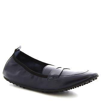 Leonardo Schuhe Frauen's handgemachte Slip-on Ballett Wohnungen Schuhe in blauem Kalbsleder