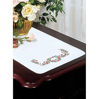 Stamped White Dresser Scarf For Embroidery 14