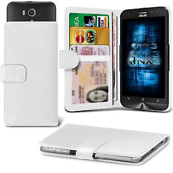 ONX3 Asus Zenfone 5 A500KL Leather Universal Spring Clamp Wallet Case With Card Slot Holder and Banknotes Pocket-White