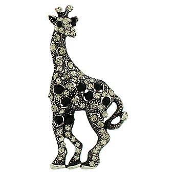 Broscher Store Jet & Black Diamond Crystal giraff brosch