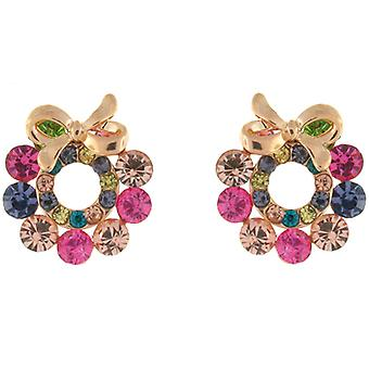 Gold and Multi Crystal Wreath with Bow Stud Earrings