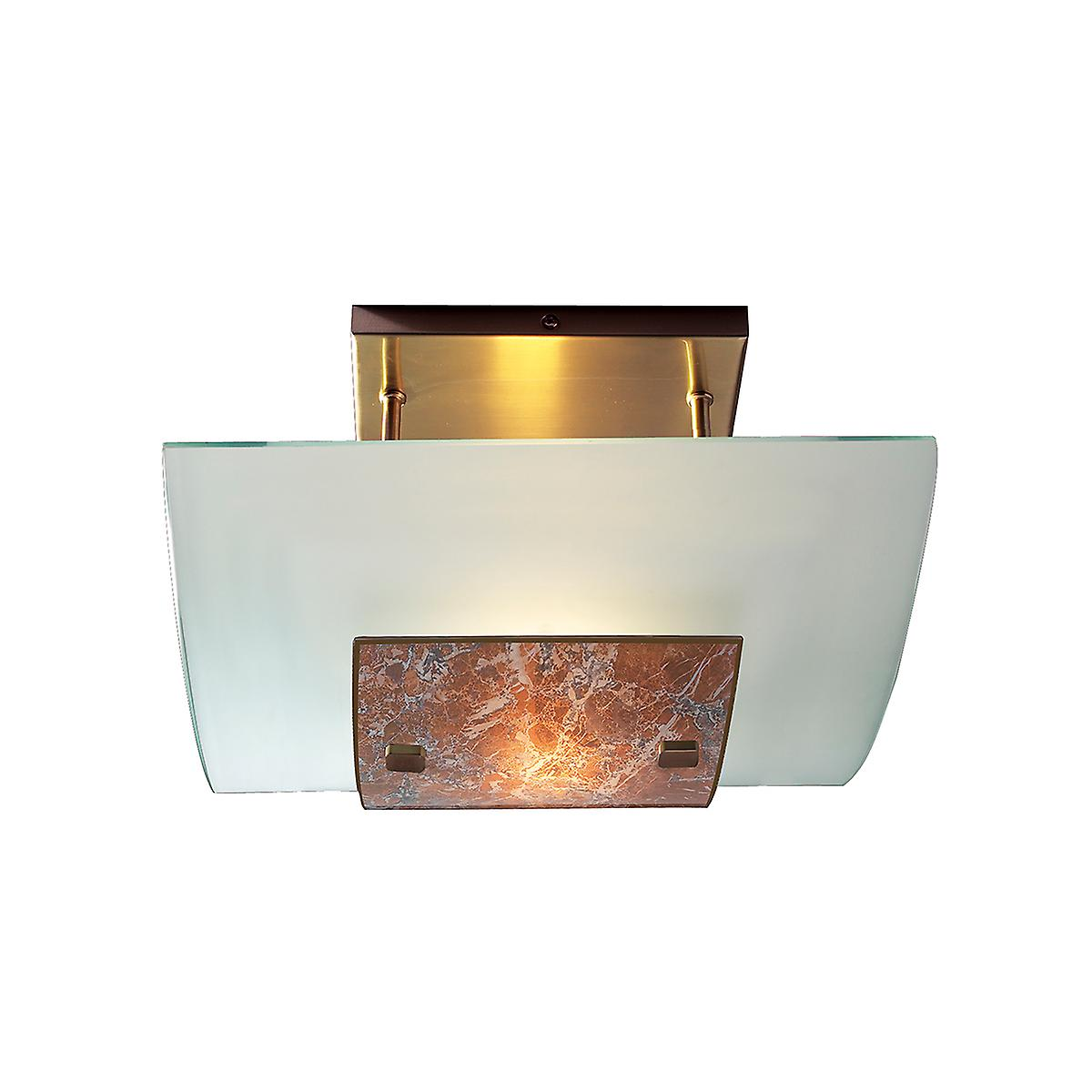 David Hunt MG74 Savoy Semi Flush Ceiling Light In Antique Brass With Light Marble