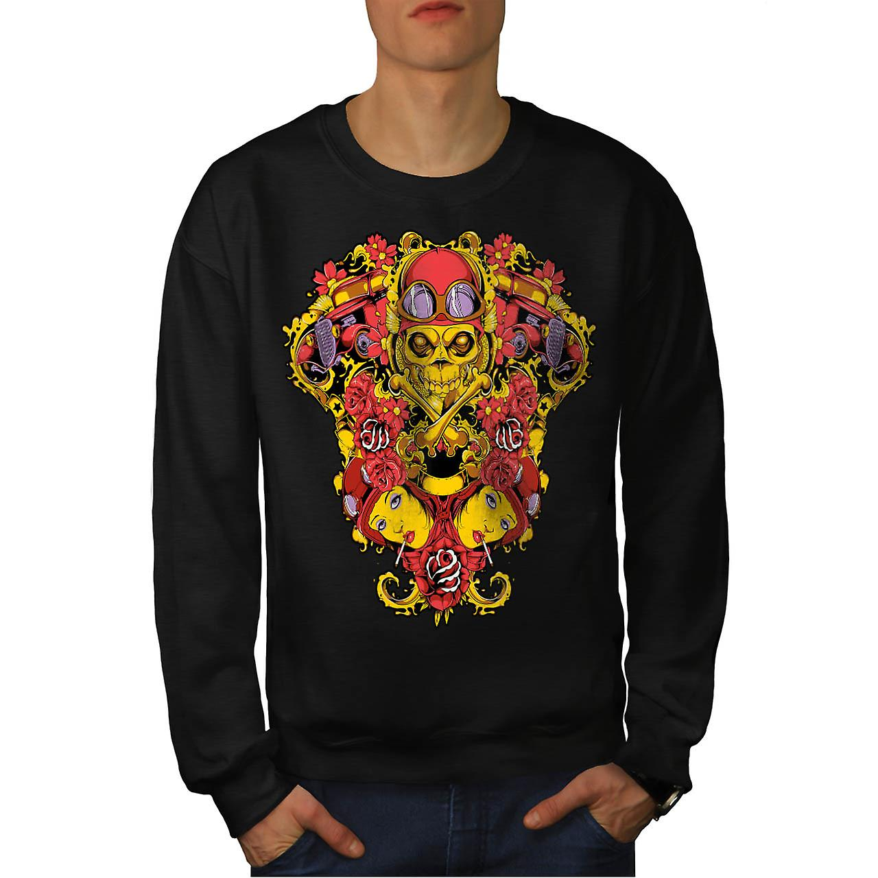 Skeleton Pilot Horror Air Plane Men Black Sweatshirt | Wellcoda