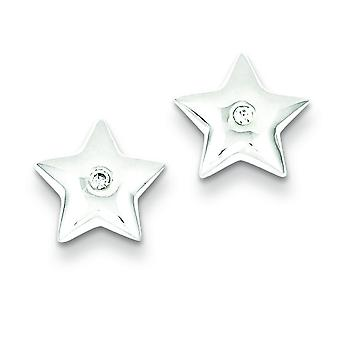 Sterling Silver Diamond Star Earrings - .01 dwt .02 cwt
