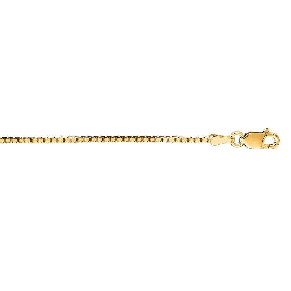 14k jaune or 1.1mm Shiny Classic Box Chain With Lobster Clasp Necklace - Length  16 to 30