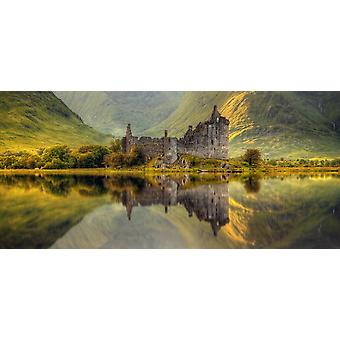 Kilchurn Castle reflection in Loch Awe Argyll and Bute Scottish Highlands Scotland Poster Print
