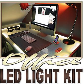 Biltek 2' ft Warm White Desk Hutch Drawers Laptop LED Strip Lighting Complete Package Kit Lamp Light DIY - Under Desk Hutch Drawers Bookshelf Reading Glass Case Waterproof Flexible DIY 110V-220V