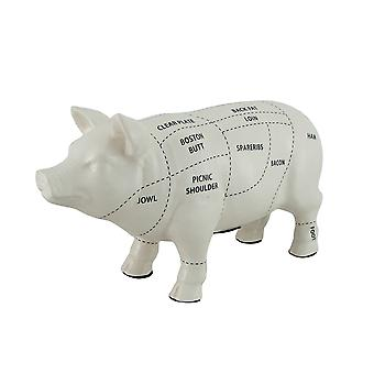 Large White Ceramic Butcher Chart Hog Piggy Bank 13 Inches Long