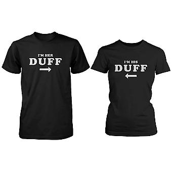 Funny Matching Black Cotton Couple T-Shirts - I'm Her Duff, I'm His Duff