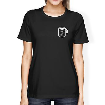 Coffee For Life Pocket Women's Black Shirts Typographic Tee