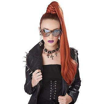 Dominatrix Ponytail Red Clip On Women Costume Wig