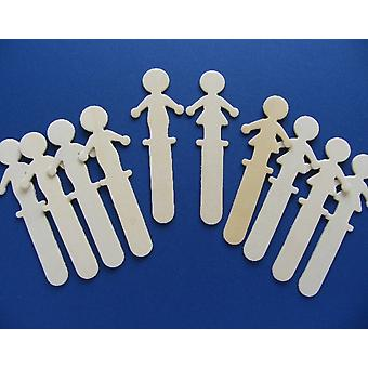 10 Boys & Girls Shapes Wooden Craft Sticks - Puppets & Bookmarks