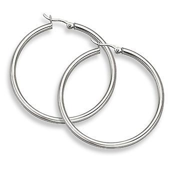 14K White Gold Hoop Earrings - 1 9/16
