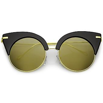 Oversize Half Frame Cat Eye Sunglasses Ultra Slim Arms Round Mirrored Flat Lens 54mm