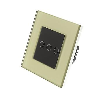 I LumoS Gold Glass Frame 3 Gang 2 Way Touch LED Light Switch Black Insert