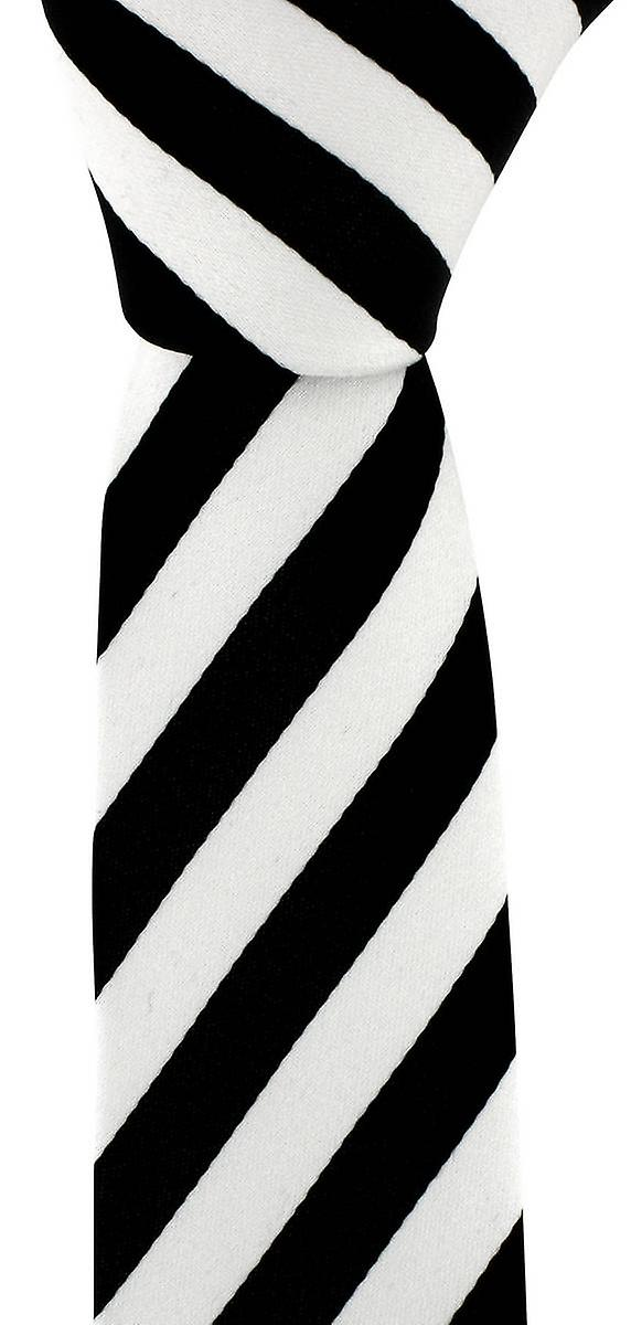 David Van Hagen Skinny Striped Tie - Black/White
