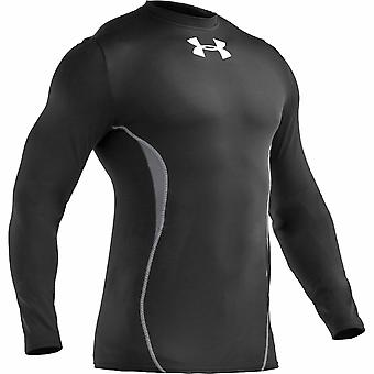 UNDER ARMOUR coldgear fitted peak crew neck longsleeve top [black/steel]