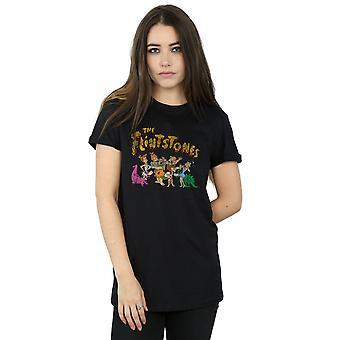 The Flintstones Women's Group Distressed Boyfriend Fit T-Shirt