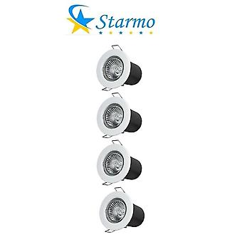 4 x Starmo Fire Rated Recessed Ceiling Spotlights Starmo GU10 LED Bulbs Various Colours
