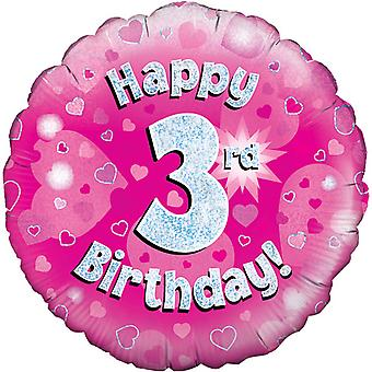 Oaktree 18 Inch Happy 3rd Birthday Pink Holographic Balloon