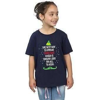 Elf Girls Christmas Cheer Text T-Shirt
